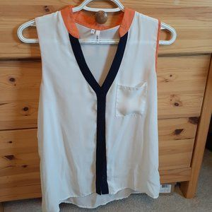 White Tank Top with Orange and Blue Accents